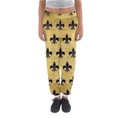 Royal1 Black Marble & Gold Brushed Metal Women s Jogger Sweatpants