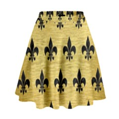 Royal1 Black Marble & Gold Brushed Metal High Waist Skirt