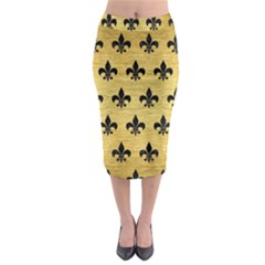 Royal1 Black Marble & Gold Brushed Metal Midi Pencil Skirt
