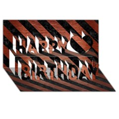 Stripes3 Black Marble & Copper Brushed Metal (r) Happy Birthday 3d Greeting Card (8x4)