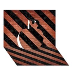 Stripes3 Black Marble & Copper Brushed Metal (r) Apple 3d Greeting Card (7x5)