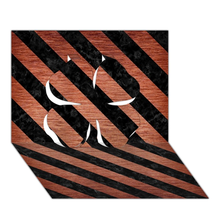 STRIPES3 BLACK MARBLE & COPPER BRUSHED METAL (R) Clover 3D Greeting Card (7x5)