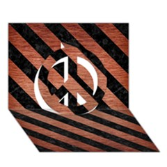 Stripes3 Black Marble & Copper Brushed Metal (r) Peace Sign 3d Greeting Card (7x5)