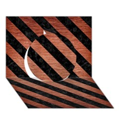 Stripes3 Black Marble & Copper Brushed Metal (r) Circle 3d Greeting Card (7x5)