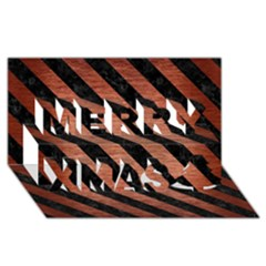 Stripes3 Black Marble & Copper Brushed Metal (r) Merry Xmas 3d Greeting Card (8x4)