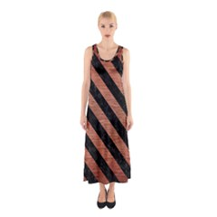 Stripes3 Black Marble & Copper Brushed Metal (r) Sleeveless Maxi Dress