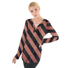 Stripes3 Black Marble & Copper Brushed Metal (r) Tie Up Tee