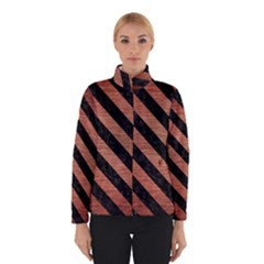Stripes3 Black Marble & Copper Brushed Metal (r) Winter Jacket