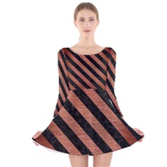 Stripes3 Black Marble & Copper Brushed Metal (r) Long Sleeve Velvet Skater Dress