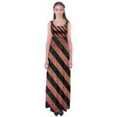 Stripes3 Black Marble & Copper Brushed Metal (r) Empire Waist Maxi Dress