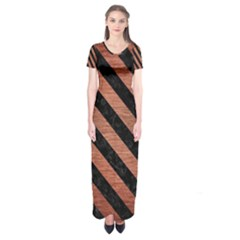 Stripes3 Black Marble & Copper Brushed Metal (r) Short Sleeve Maxi Dress