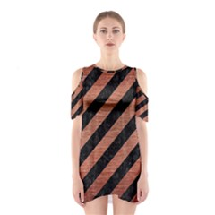 Stripes3 Black Marble & Copper Brushed Metal Shoulder Cutout One Piece