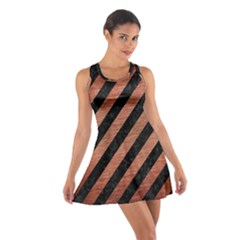 Stripes3 Black Marble & Copper Brushed Metal Cotton Racerback Dress
