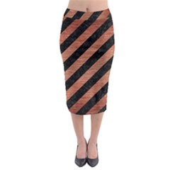 Stripes3 Black Marble & Copper Brushed Metal Midi Pencil Skirt