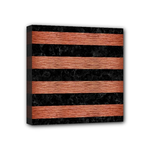 Stripes2 Black Marble & Copper Brushed Metal Mini Canvas 4  X 4  (stretched)