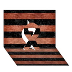 STR2 BK MARBLE COPPER Ribbon 3D Greeting Card (7x5)