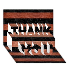 Stripes2 Black Marble & Copper Brushed Metal Thank You 3d Greeting Card (7x5)