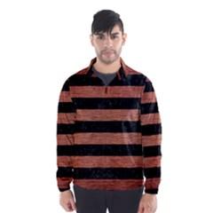 Stripes2 Black Marble & Copper Brushed Metal Wind Breaker (men)
