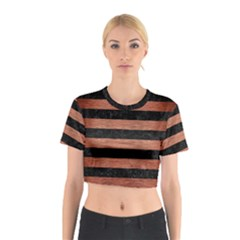 Stripes2 Black Marble & Copper Brushed Metal Cotton Crop Top