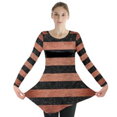 STR2 BK MARBLE COPPER Long Sleeve Tunic