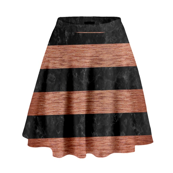 STRIPES2 BLACK MARBLE & COPPER BRUSHED METAL High Waist Skirt
