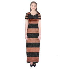Stripes2 Black Marble & Copper Brushed Metal Short Sleeve Maxi Dress