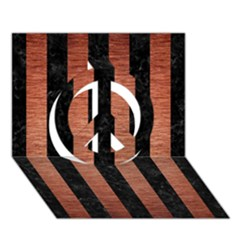 Stripes1 Black Marble & Copper Brushed Metal Peace Sign 3d Greeting Card (7x5)