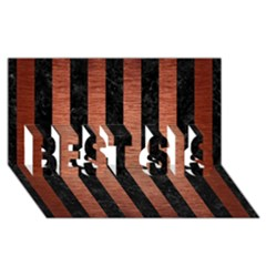 Stripes1 Black Marble & Copper Brushed Metal Best Sis 3d Greeting Card (8x4)