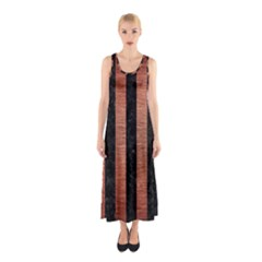 Stripes1 Black Marble & Copper Brushed Metal Sleeveless Maxi Dress