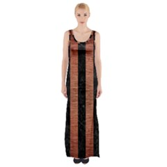 Stripes1 Black Marble & Copper Brushed Metal Maxi Thigh Split Dress