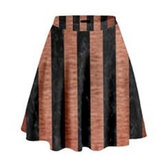 Stripes1 Black Marble & Copper Brushed Metal High Waist Skirt