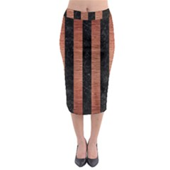 Stripes1 Black Marble & Copper Brushed Metal Midi Pencil Skirt