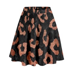 Skin5 Black Marble & Copper Brushed Metal (r) High Waist Skirt