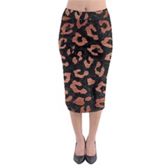 Skin5 Black Marble & Copper Brushed Metal (r) Midi Pencil Skirt