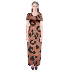 Skin5 Black Marble & Copper Brushed Metal Short Sleeve Maxi Dress
