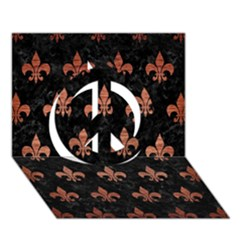 Royal1 Black Marble & Copper Brushed Metal (r) Peace Sign 3d Greeting Card (7x5)