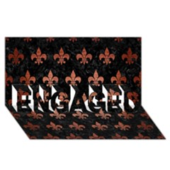 Royal1 Black Marble & Copper Brushed Metal (r) Engaged 3d Greeting Card (8x4)