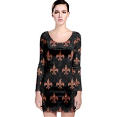 Royal1 Black Marble & Copper Brushed Metal (r) Long Sleeve Bodycon Dress
