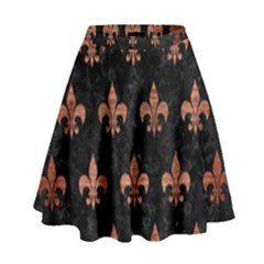 Royal1 Black Marble & Copper Brushed Metal (r) High Waist Skirt