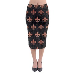 Royal1 Black Marble & Copper Brushed Metal (r) Midi Pencil Skirt