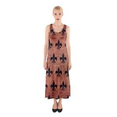 Ryl1 Bk Marble Copper Sleeveless Maxi Dress