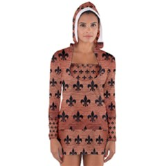 RYL1 BK MARBLE COPPER Women s Long Sleeve Hooded T-shirt