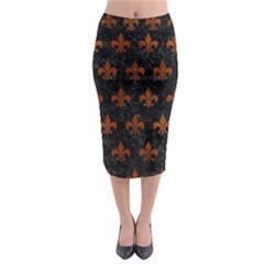 RYL1 BK MARBLE BURL (R) Midi Pencil Skirt