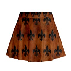 Royal1 Black Marble & Brown Burl Wood Mini Flare Skirt
