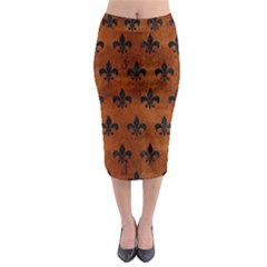 Royal1 Black Marble & Brown Burl Wood Midi Pencil Skirt