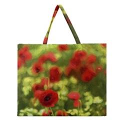 Poppy VI Zipper Large Tote Bag