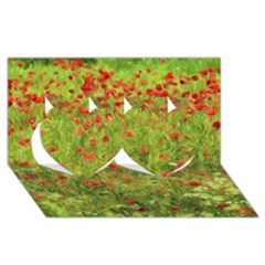 Poppy VII Twin Hearts 3D Greeting Card (8x4)