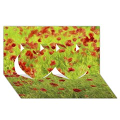 Poppy VIII Twin Hearts 3D Greeting Card (8x4)