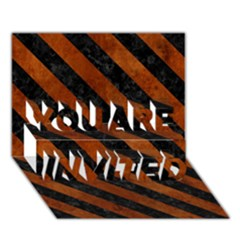 Stripes3 Black Marble & Brown Burl Wood (r) You Are Invited 3d Greeting Card (7x5)