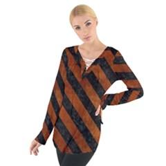 Stripes3 Black Marble & Brown Burl Wood (r) Tie Up Tee